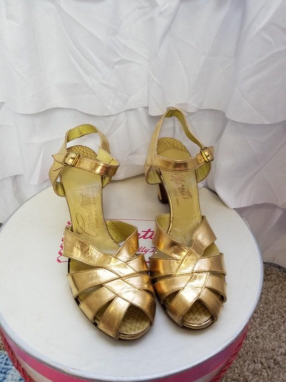 Vintage 1930's / 40's Gold Evening Sandals Dance S