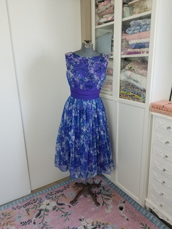 Vintage 1950's Blue and Purple Watercolor Floral F