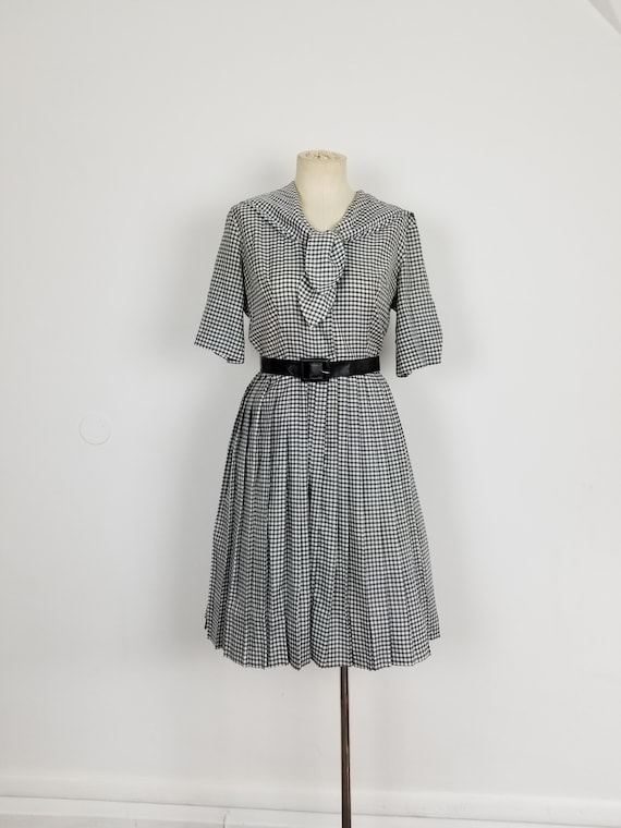 Vintage 1950's Nautical Sailor Style Dress Black a