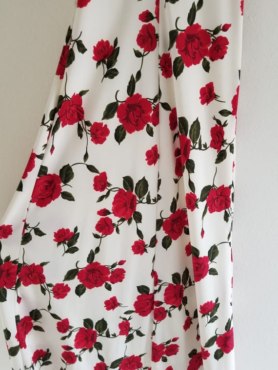 Vintage 1980's Bias cut Rose Print Slip Dress - image 6