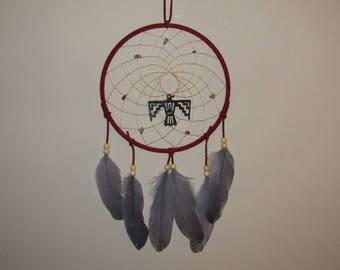 8 inch Red dreamcatcher with thunderbird
