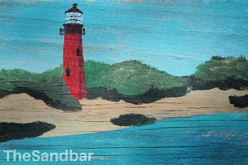 TheSandbar Handpainted Lighthouse Wood Sign Jupiter Tequesta Florida Home Decor Handmade Upcycled Red Brick Lighthouse Beach House