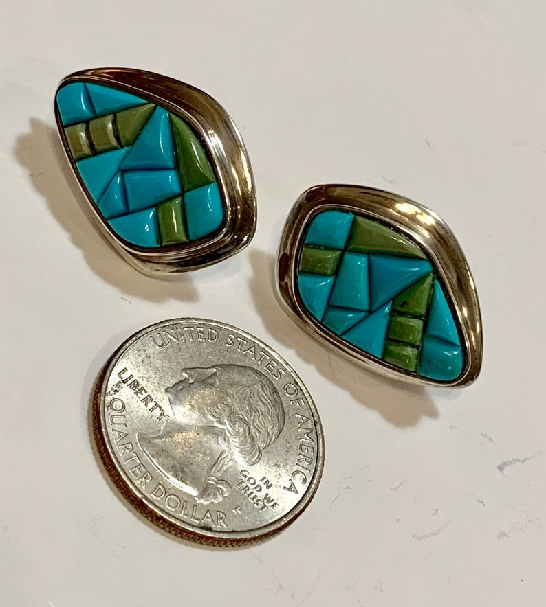 Amazing blue and green mosaic turquoise Native American style earrings Set in sterling silver