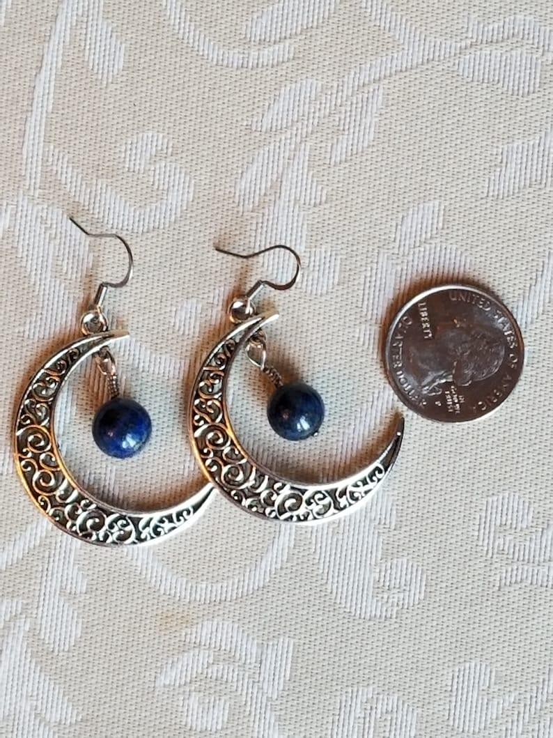 Crescent Moon Lapis Lazuli Earrings Healing Crystal Gemstone Earrings