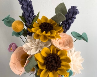 FELT FLOWER BOUQUET No. 022 forever flower bouquet teachers gift housewarming gift office cubicle decor Valentines day Mothers day