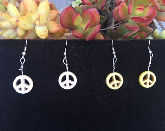 Howlite Peace Sign Earrings