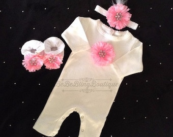 NEWBORN Baby Girl Take Home Outfit Newborn Baby GIrl Coming Home Outfit Newborn Baby Girl Photo Prop Outfit Baby GIrl First Photo Outfit