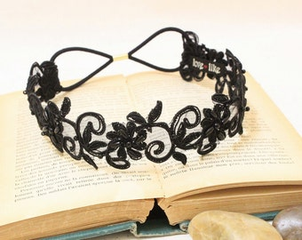 Black Beaded Lace Elastic Headband, Bridal Black Headband, Bridesmaid Headband,Boho Elastic Headband,Black Lace Hair Band