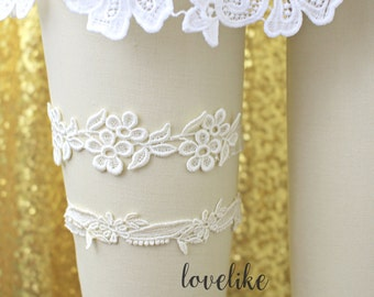 Ivory Lace Wedding Garter Set, Ivory Bridal Wedding Garter Set, Ivory Lace Garter Set