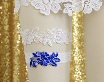Wedding Garter Set, Ivory Embroidery Flower Lace Wedding Garter Set, Ivory and Blue Toss Garter /GT-34A