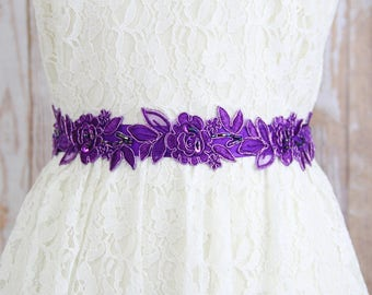 Purple Beaded Flower Lace Sash , Bridal Sash, Bridesmaid Sash, Flower Girl Purple Sash, Purple Headband