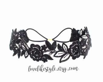 Black Beaded Flower Lace Elastic Headband,Forehead Headband, Bridal Black Headband, Bridesmaid Headband,Boho BLack Headband
