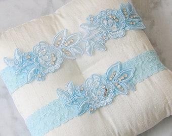 Wedding Garter Set, Light Blue Embroidery Flower Lace with Crystal Stone Wedding Garter Set, Blue Wedding Garter Set,Something Blue