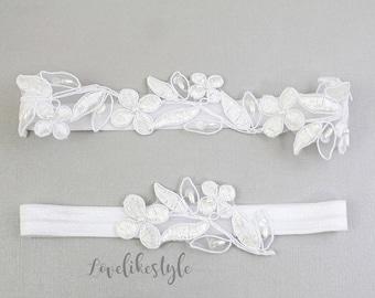 White  Wedding Garter Set, White Embroidery Flower Lace Wedding Garter, Ivory Wedding Garter Belt,Something Blue  / GT-1807