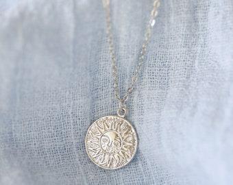 Silver Sun Coin Necklace, Silver Sunburst Coin Necklace, Bridesmaid Gift, Birthday Gift,Layered Necklace, Coin Necklace,Dainty Necklace