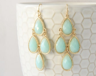 Light Blue Chandelier Earrings , Bridal Earrings, Bridesmaid Earrings,  Blue Chandelier Earrings, Bridesmaid Gift-2066