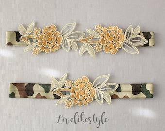 Camouflage Elastic Wedding Garter, Gold Flower Lace with Camouflage Elastic Garter Belt,Camo Garter Set, Military Wedding Garter - 1811