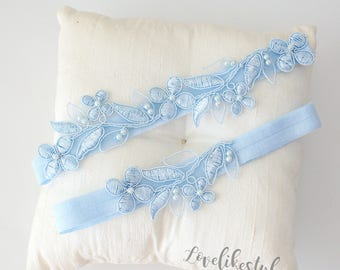 Light Blue Embroidery Flower Lace Wedding Garter, Light Blue Garter Set, Blue Single Garter,Something Blue  / GT-1806