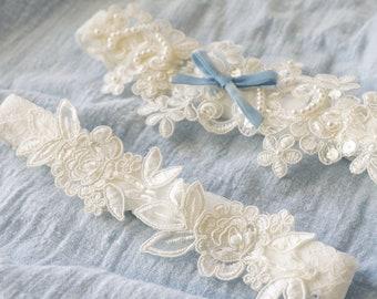 White Wedding Garter With Blue Bow,Pearl Beaded Lace Wedding Garter, Something Blue,Bridal Wedding Garter