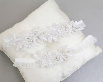 Wedding Garter Set, White Embroidery Flower Lace with Crystal Stone Wedding Garter Set, White Wedding Garter Set/ GT-34A
