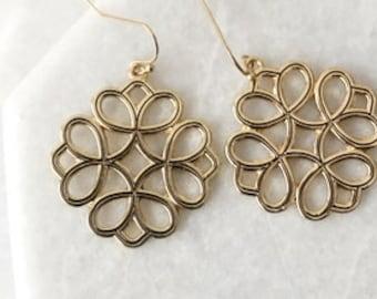 Gold Filigree Earrings, Boho Chic Bohemian Filigree Dangle Earrings, Moroccan Earrings, Bridesmaid Earrings, Bridal Shower Gift -2082