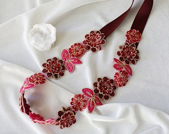 Wine and Hot Pink Beaded Flower Lace Wedding Sash, Bridal Sash, Bridesmaid Sash, Flower Girl Sash, Burgundy Lace Sash Belt