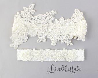 Wedding Garter Set, Ivory Beaded Lace Garter Set,Bridal Wedding Grter,Wedding Garter Set, Ivory Wedding Garter, Style No. GT-76A