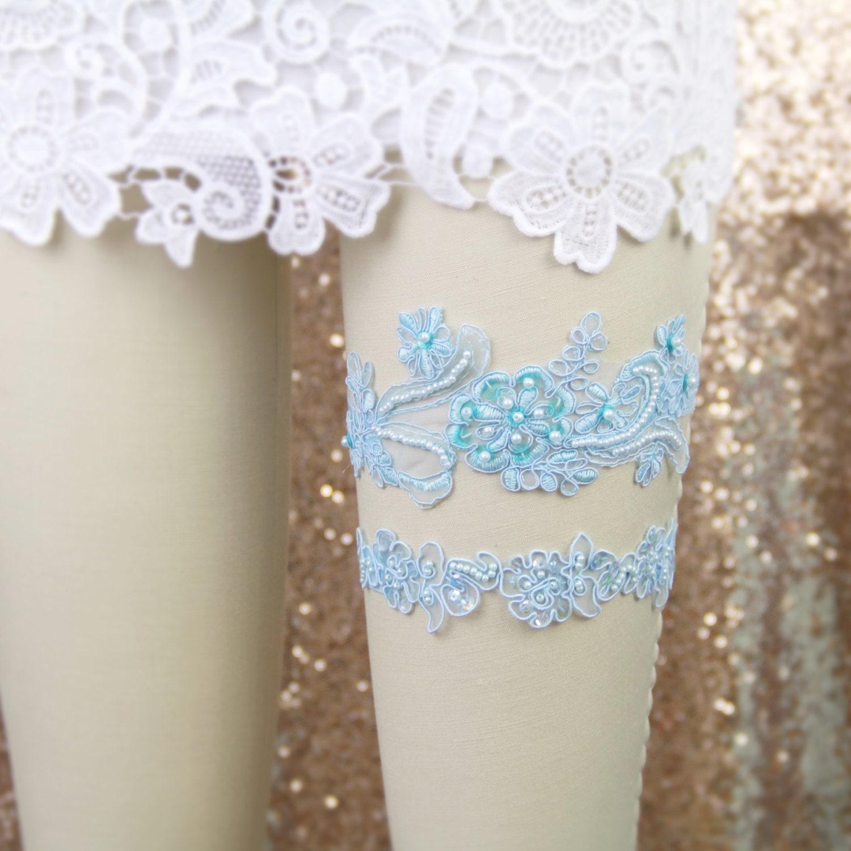 Wedding Garter Set Light Blue Beaded Lace Wedding Garter