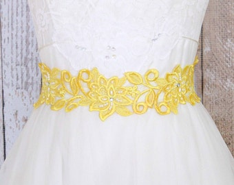 Yellow Hand Dyed Flower Lace with Yellow Satin Ribbon Sash // Bridal Sash, Bridesmaid Sash, Flower Girl Sash  // SH-03