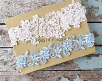 Weding Garter Set, Light Ivory and Light Blue Beaded Lace Wedding Garter Set , Ivory Lace Garter Set, Toss Garter ,  / GT-44