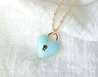 Dainty Blue Heart Lock Charm Necklace , Blue Heart Necklace , Lock Charm Necklace, Layered Necklace, Bridesmaid Gift