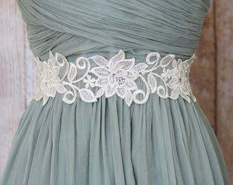 Ivory Wedding Sash, Ivory Pearl Beaded Flower Lace with Ivory Ribbon Sash // Bridal Sash // Bridesmaid Sash // Flower Girl Sash,  SH-03