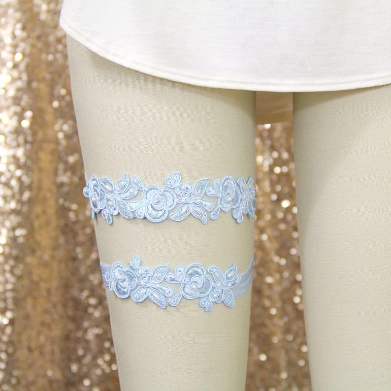 Blue Single Garter,Something Blue   GT-34A Light Blue Embroidery Flower Lace Wedding Garter Light Blue Garter Set