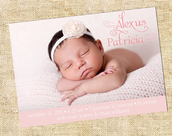 Baby Girl Blush Pink Birth Announcement