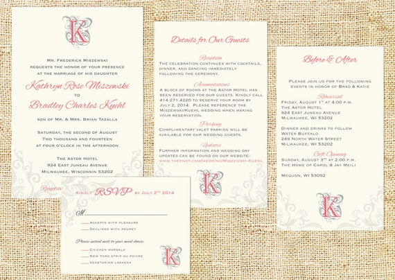 Elegant Monogram Wedding Invitations: Elegant Monogram Wedding Invitation Set