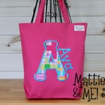 Pre-School Bag-Girls Monogrammed Cotton Canvas Tote Bag Appliqued Letter and Embroidered Name Bag-Kids Library Tote Pre-School Bag
