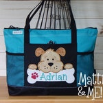 Personalized Dog Bag-Puppy Overnight Bag-Rescue Dog Gift-Animal Bag-Large Bag-Bag-Adopt a Dog Gift-Beach Bag-Zippered Diaper Bag Large Sized