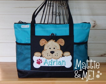 a7366a81311 Personalized Dog Bag-Puppy Overnight Bag-Rescue Dog Gift-Animal Bag-Large  Bag-Bag-Adopt a Dog Gift-Beach Bag-Zippered Diaper Bag Large Sized
