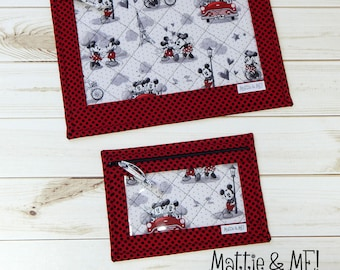 Project Bags-Cross Stitch Quilted Project Bag-Large and Small Set-Cross Stitchers and Quilters-Mouse Inspired Theme Bags