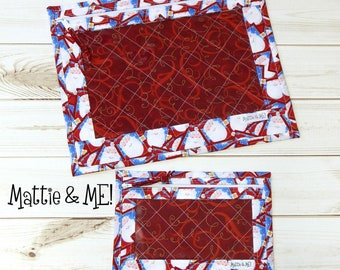 Project Bags-Cross Stitch Quilted Project Bag-Large and Small Set-Cross Stitchers and Quilters-Santa Themed Cross Stitch Project Bags