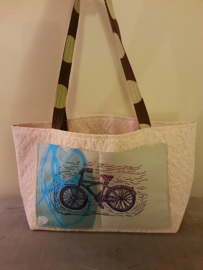 bike print tote bag handmade with recycled upcycled upholstery fabric farmers market grocery shopping beach bag gym bag school bag work tote