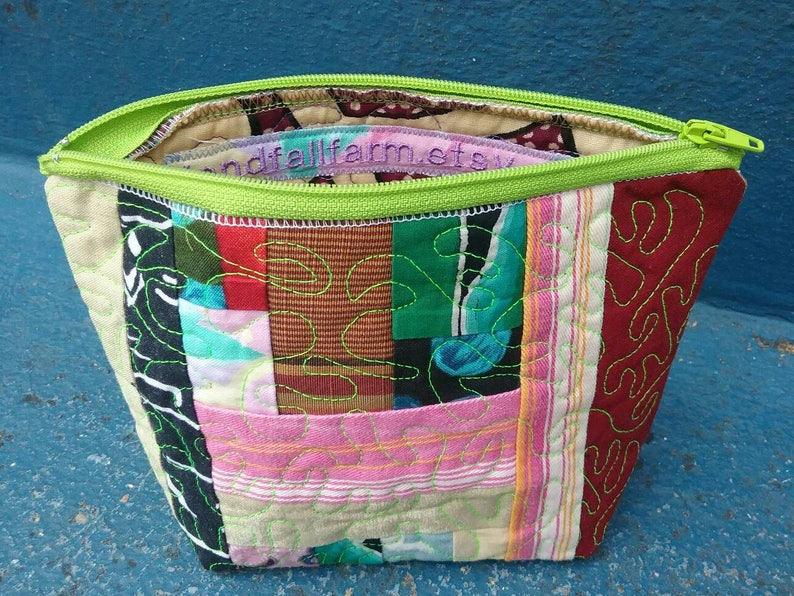 office party holidays kid/'s birthday Perfect gift for bridesmaids SOLD Travel zipper pouch handmade by me with recycled fabric scraps