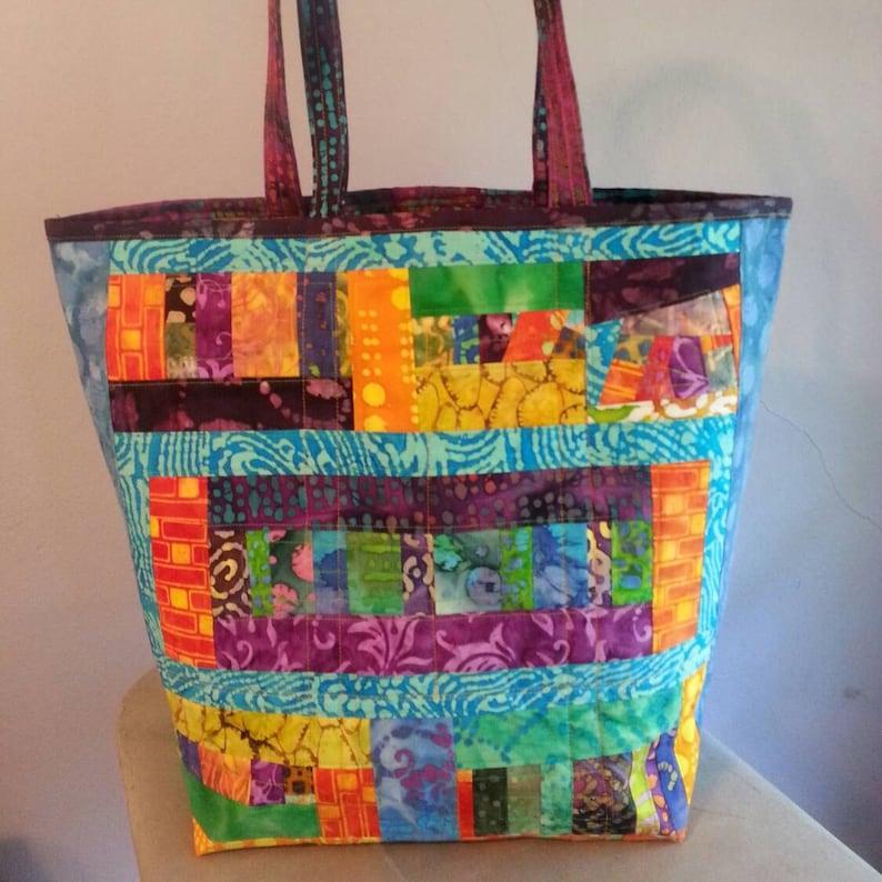 CUSTOM ORDER Quilted bag made of scraps of batik fabric  635849815a90f