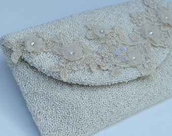 Ivory Bridal Clutch, Beaded Purse,  Envelope Clutch, Wedding Purse