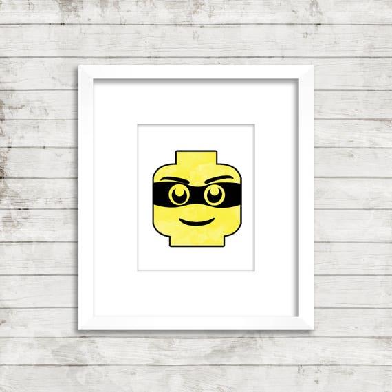 photo relating to Lego Head Printable named Robber Lego Mind Artwork Printable Lego print, Lego watercolor print, Lego Policeman, wall artwork, dwelling decor, children space, nursery items