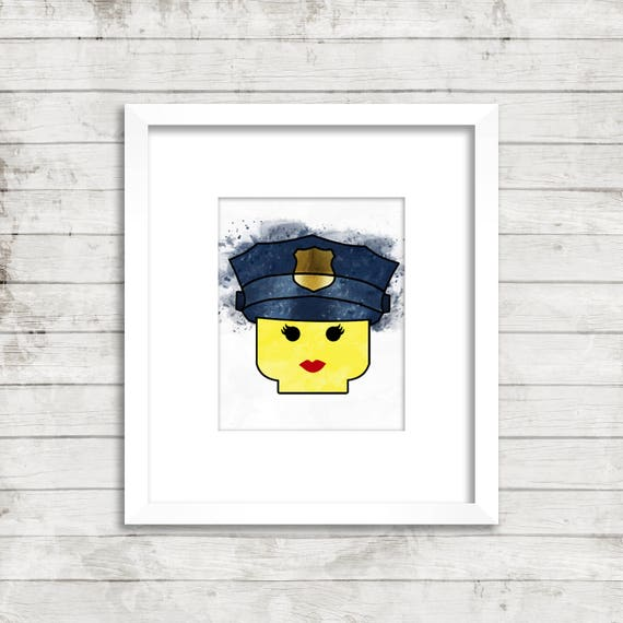 graphic about Lego Head Printable named Law enforcement Lego Mind Artwork Printable Lego print, Lego watercolor print, Lego Policeman, wall artwork, residence decor, small children area, nursery presents