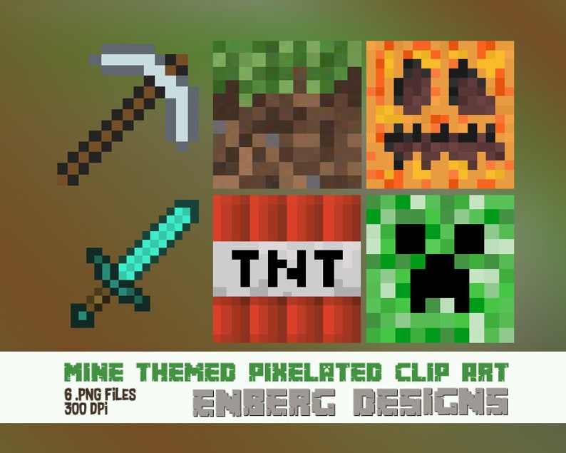 f2a31a7606 Gaming Pixelated Clip Art Grass Pumpkin Head Creeper TNT