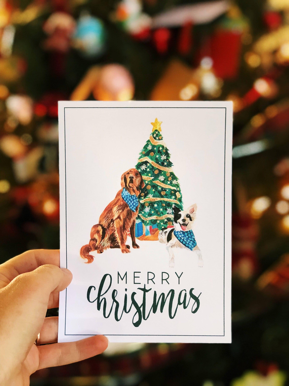 Downloadable Christmas Card Dog Holiday Card 5x7 Holiday   Etsy