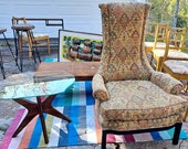 Mid Century Modern Adrian Pearsall Tall Upholstered Chair in Excellent Condition