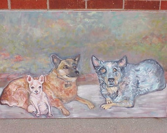 Blue Dog and Friends - Large Original Oil Painting